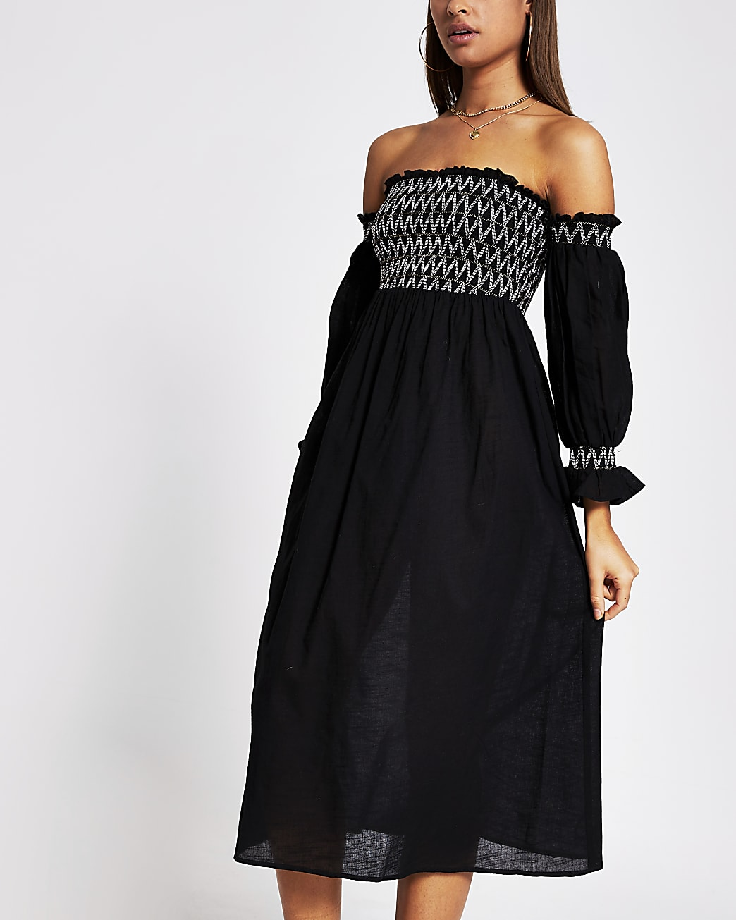 Black cutwork shirred beach dress