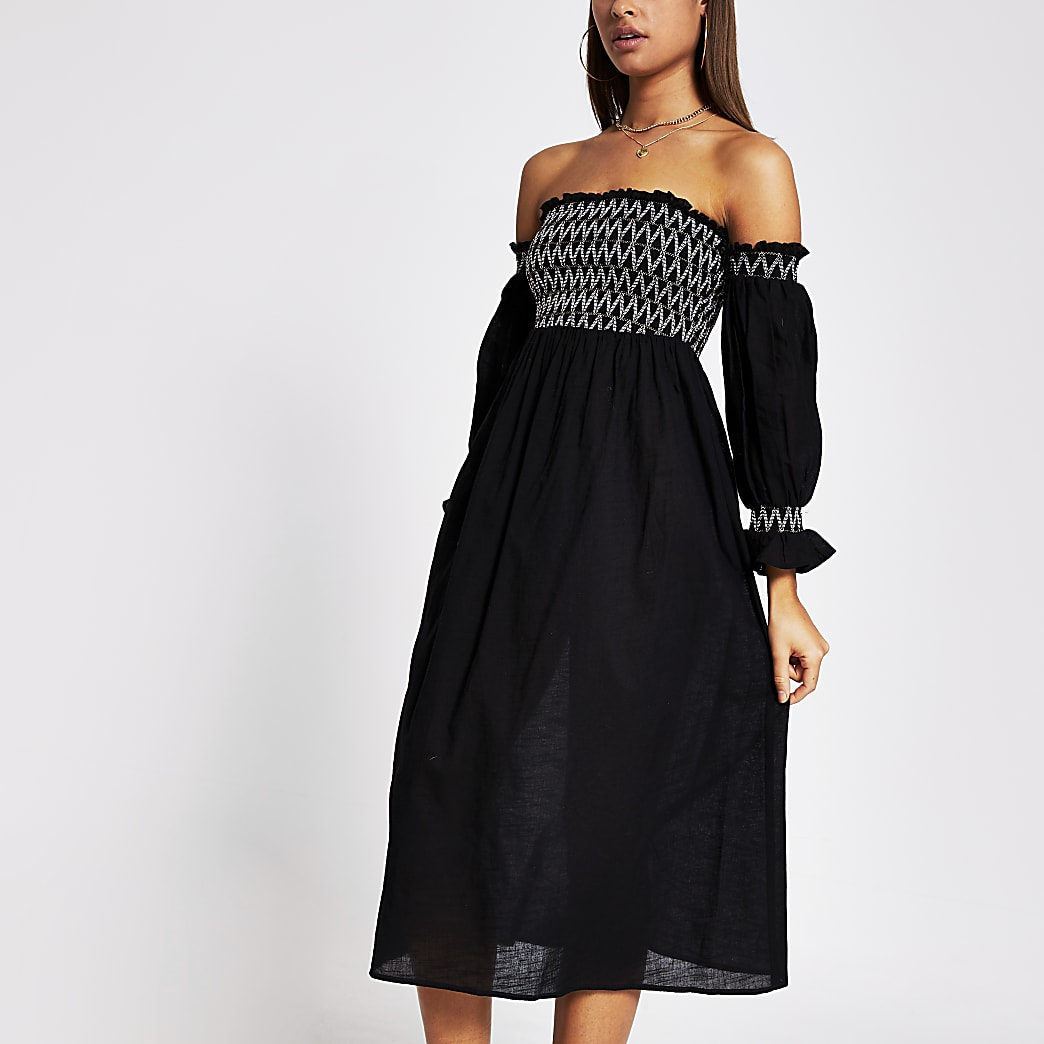 Black cutwork shirred beach dress