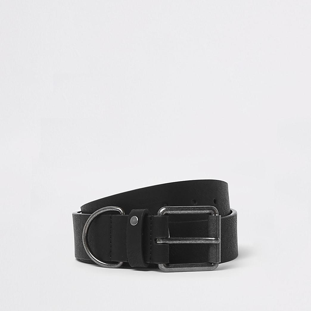 Ceinture noire avec boucle à anneau en D