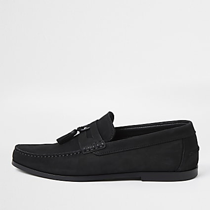 Black D ring nubuck tassel loafers