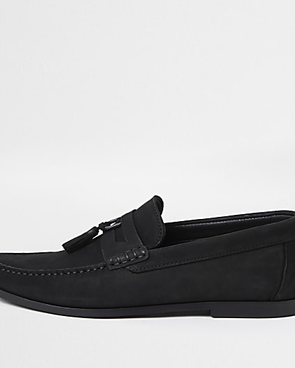 Black D ring nubuck tassel loafers