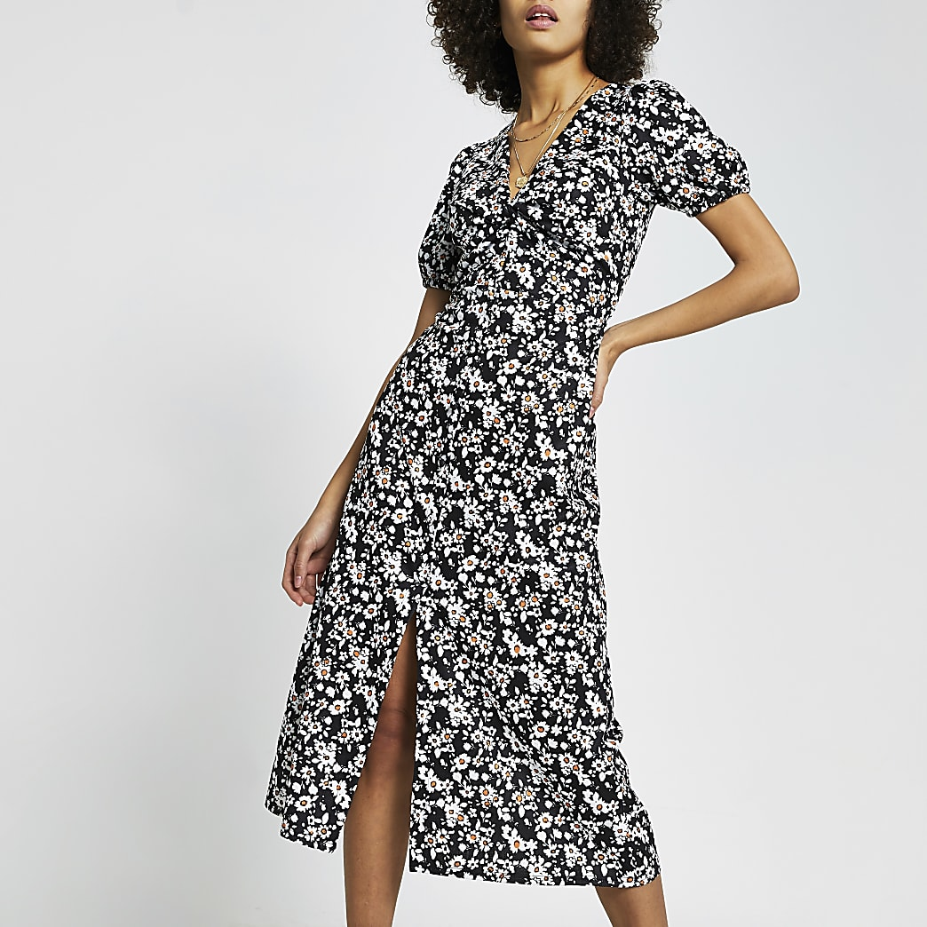 Black daisy print midi dress