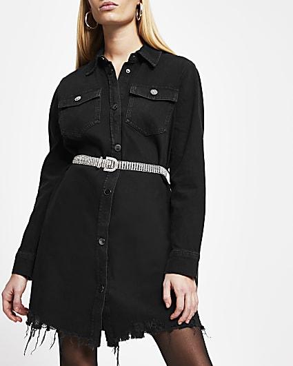 Black denim belted shirt dress