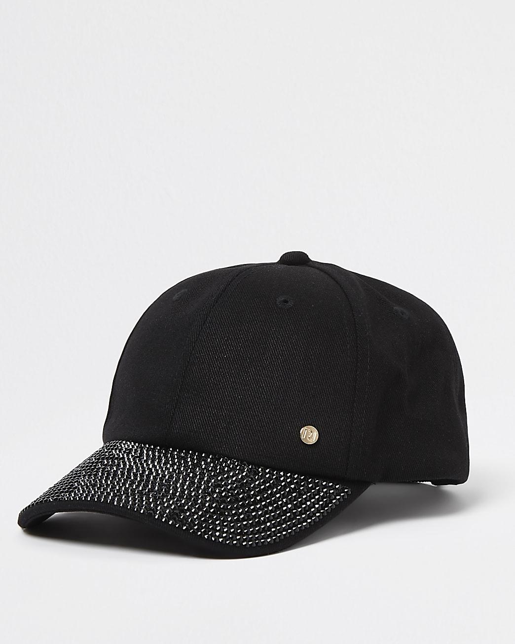 Black denim embellished peak cap