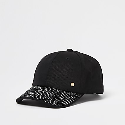 Black denim embellished peak cap