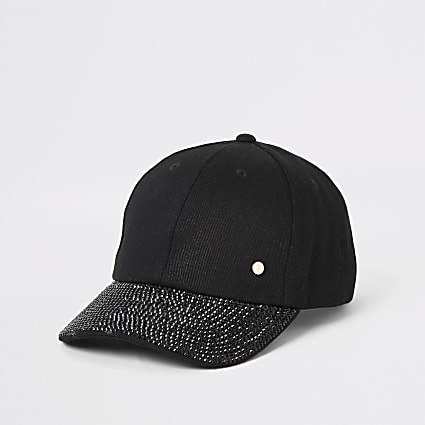 Black denim embellished peak hat