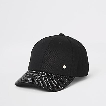 Black denim embellished peak hat