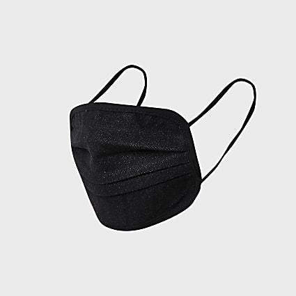 Black denim face covering