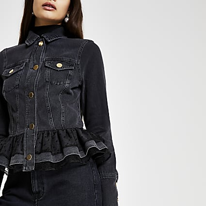 Black denim frill hem mesh jacket