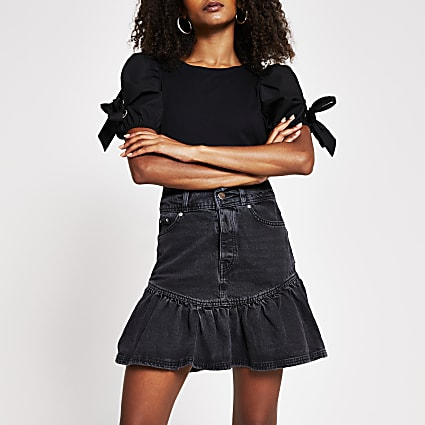 Black denim frill hem mini skirt