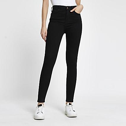Black denim high waisted skinny jeans