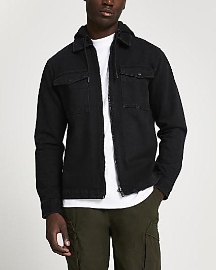 Black denim hooded shacket