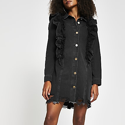 Black denim mesh frill shirt dress