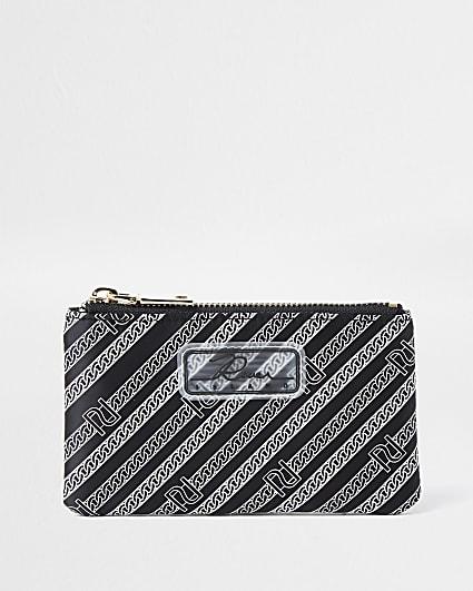 Black diagonal RI stripe zip pouch purse