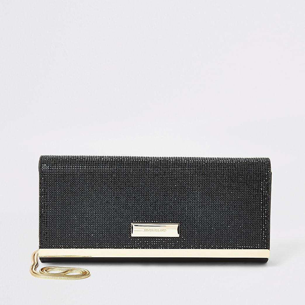 Black diamante baguette clutch bag