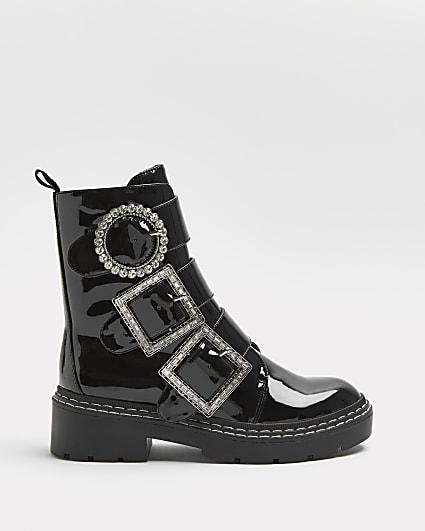Black diamante buckle boots