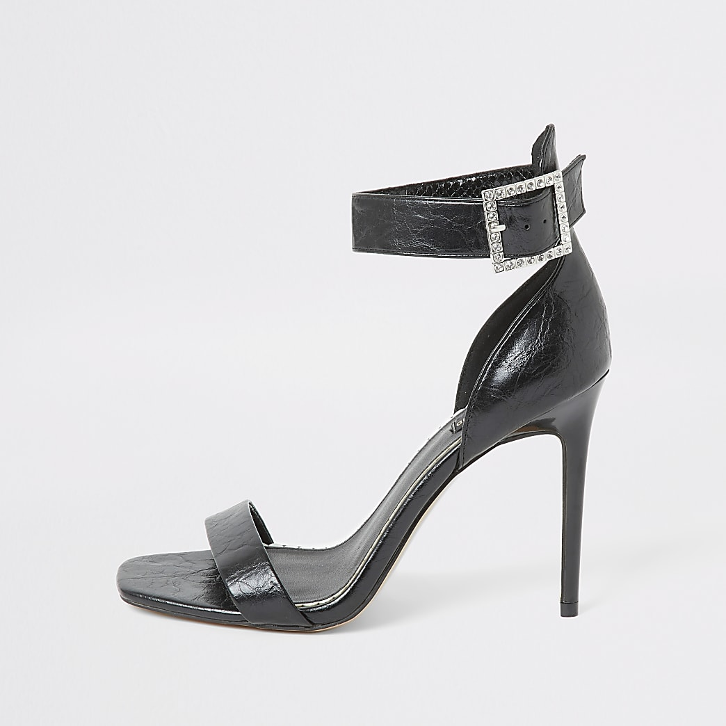 Black diamante buckle wide fit sandal