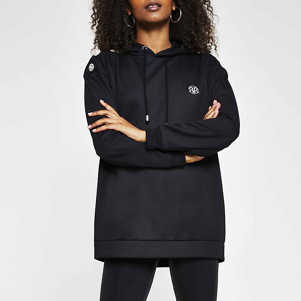 Black diamante button shoulder hoodie