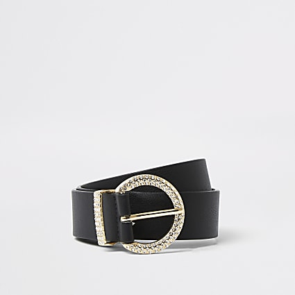 Black diamante circle belt