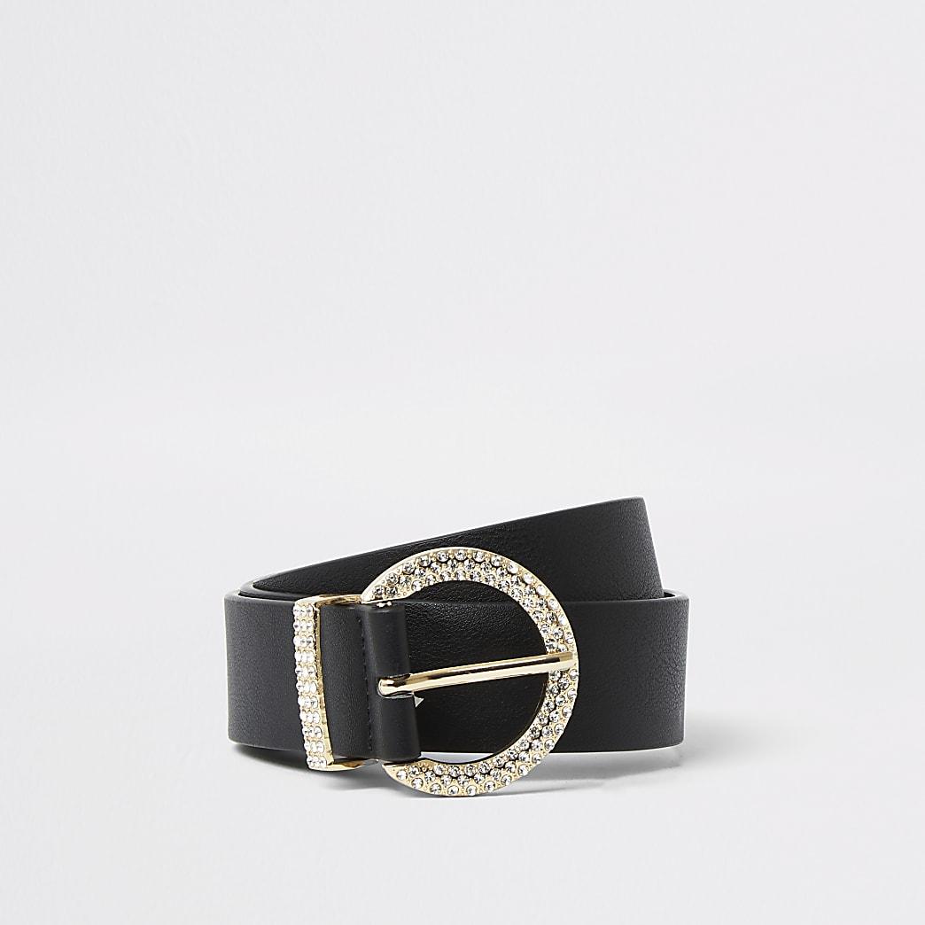 Black diamante circle belt