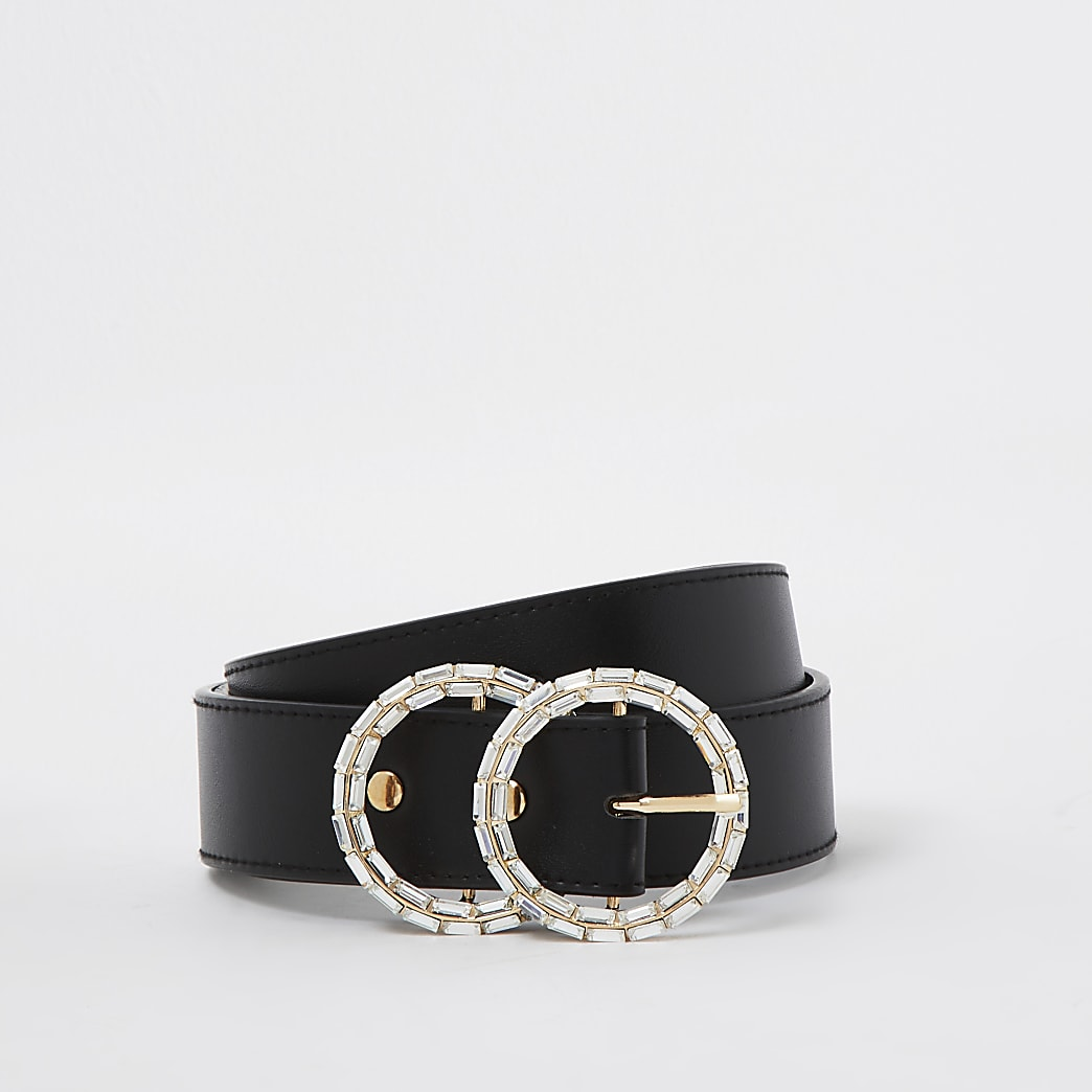 Black diamante double ring belt