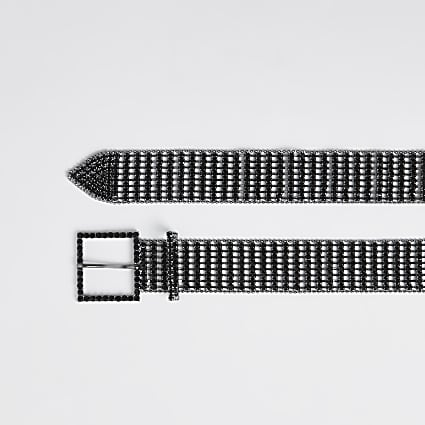 Black diamante embellished belt
