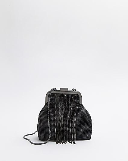 Black diamante embellished chain bag