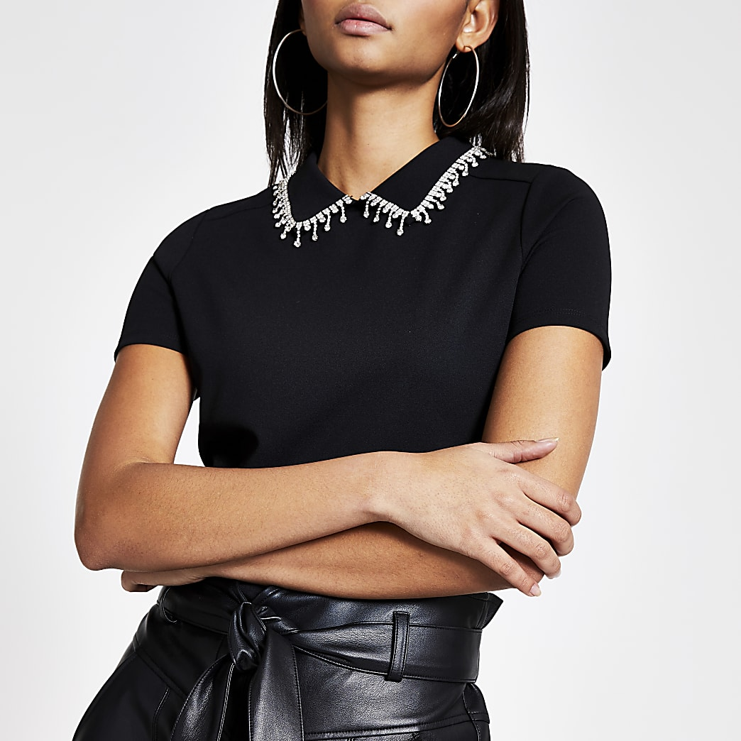 Black diamante embellished collar top