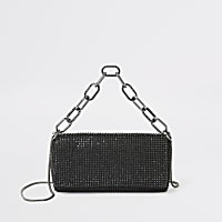 Black diamante embellished underarm bag