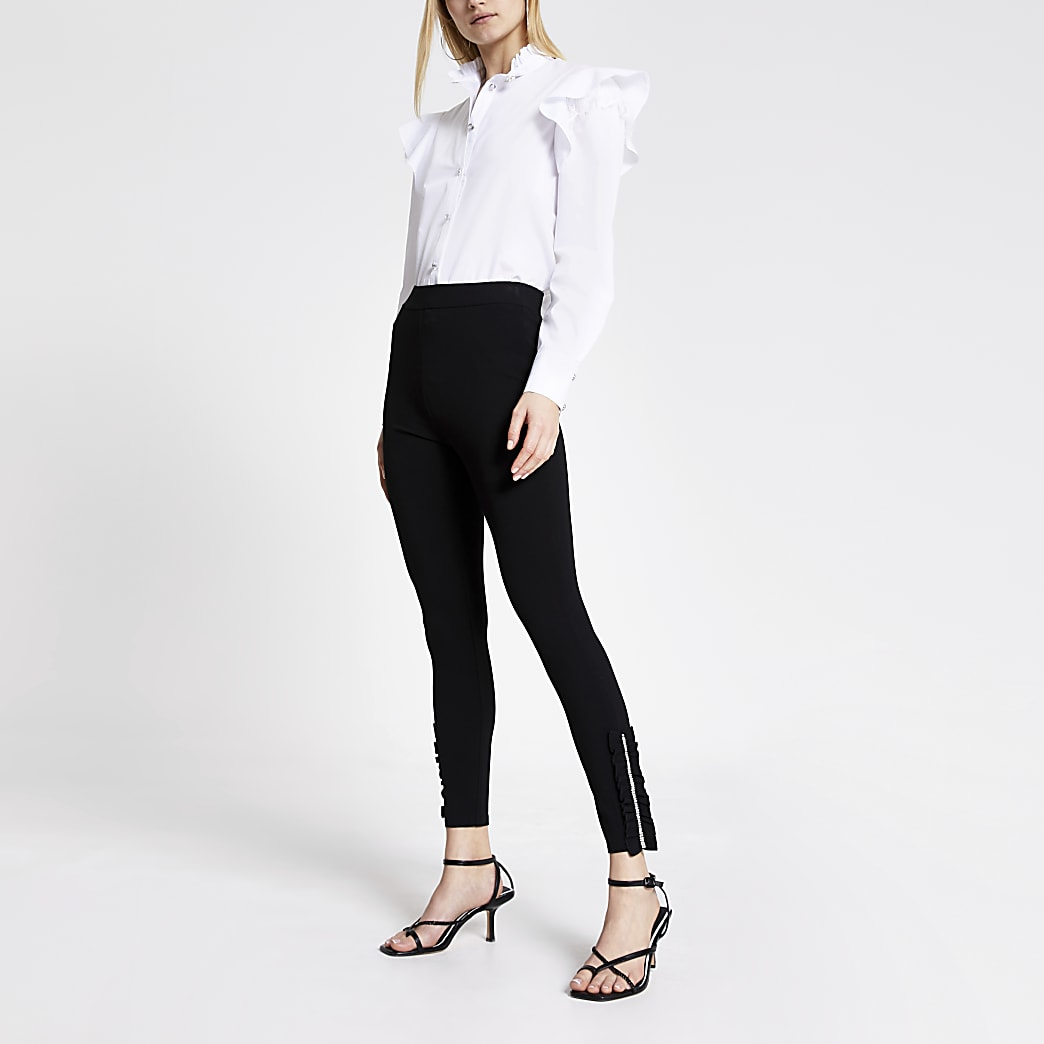 Black diamante frill hem ponte leggings