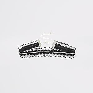 Zwarte chokerketting met kant en siersteentjes