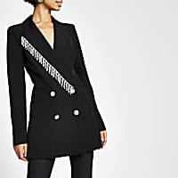 Black diamante fringe double breasted blazer