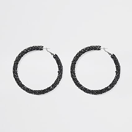 Black diamante gem hoop earrings