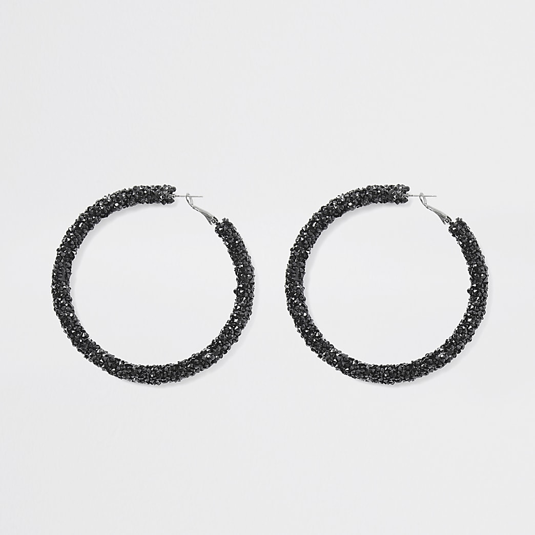 Black diamante gem hoop earrings