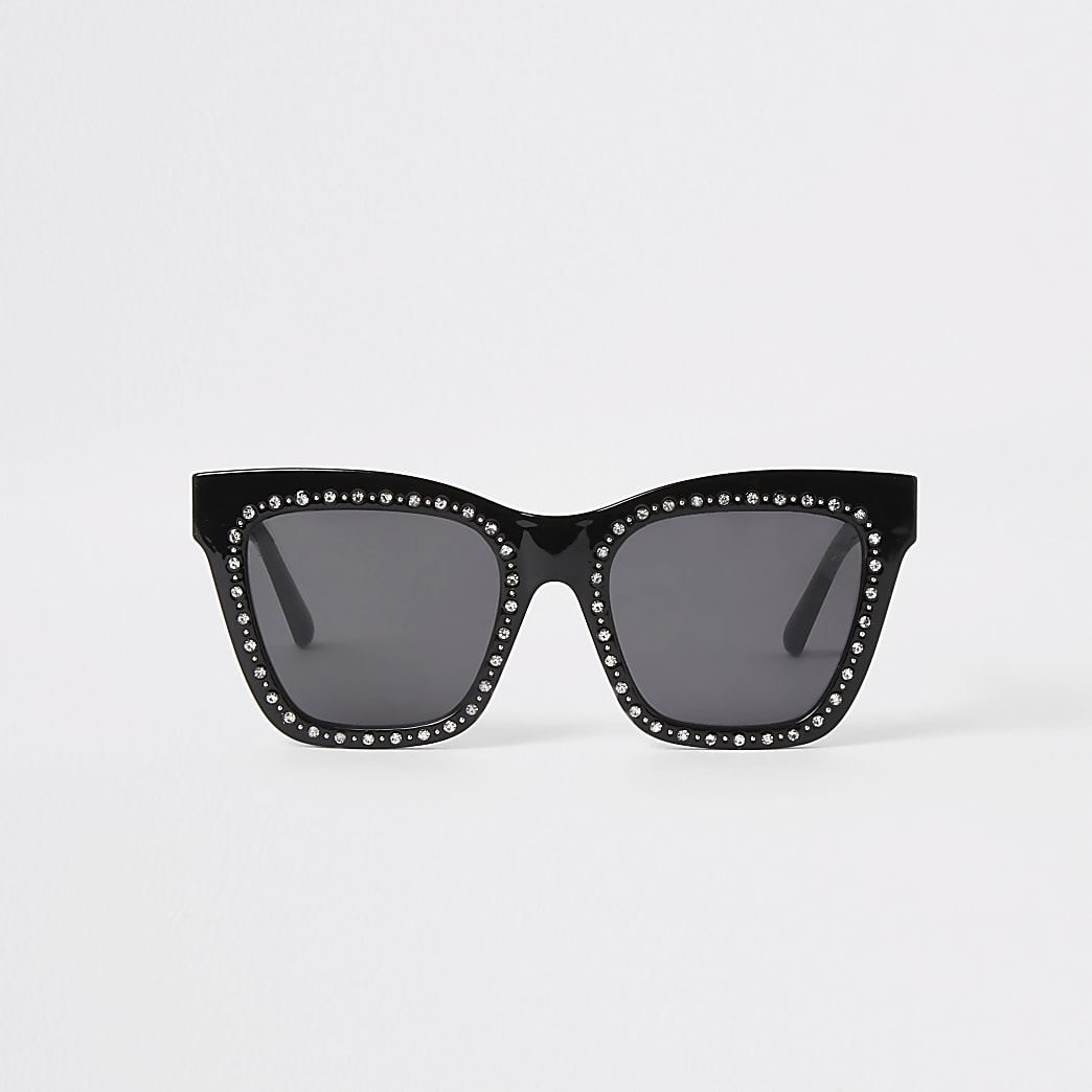 Black diamante glam sunglasses
