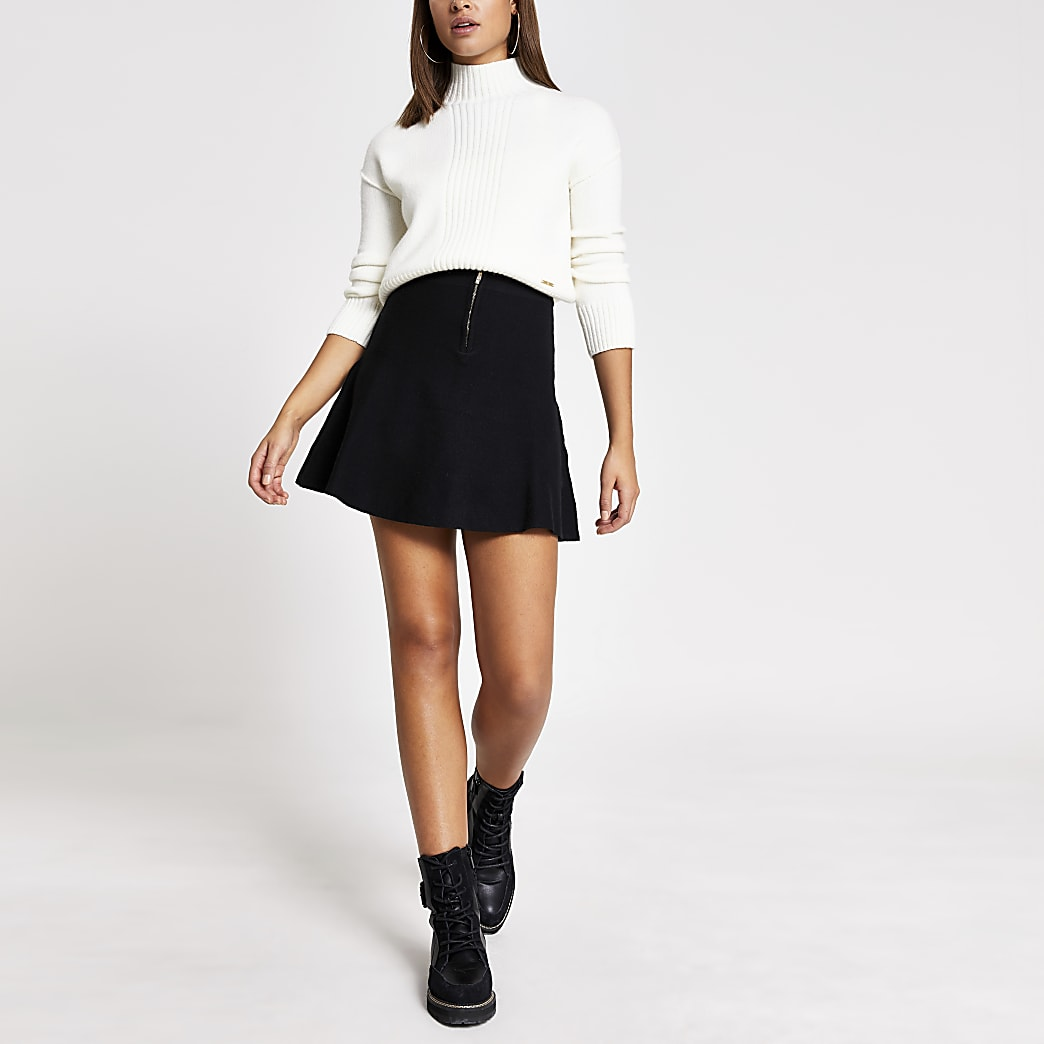 Black diamante half zip knitted mini skirt