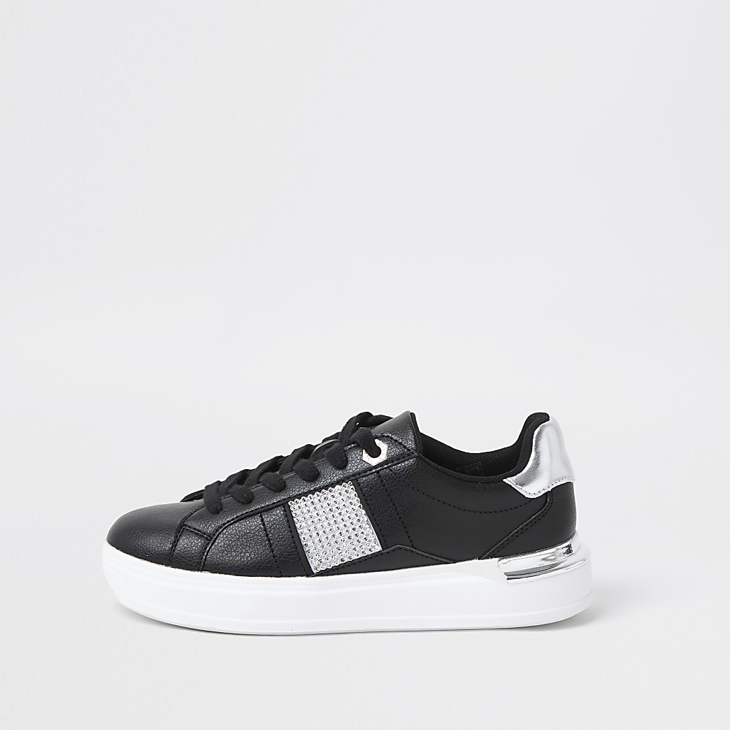 Black diamante lace up trainers