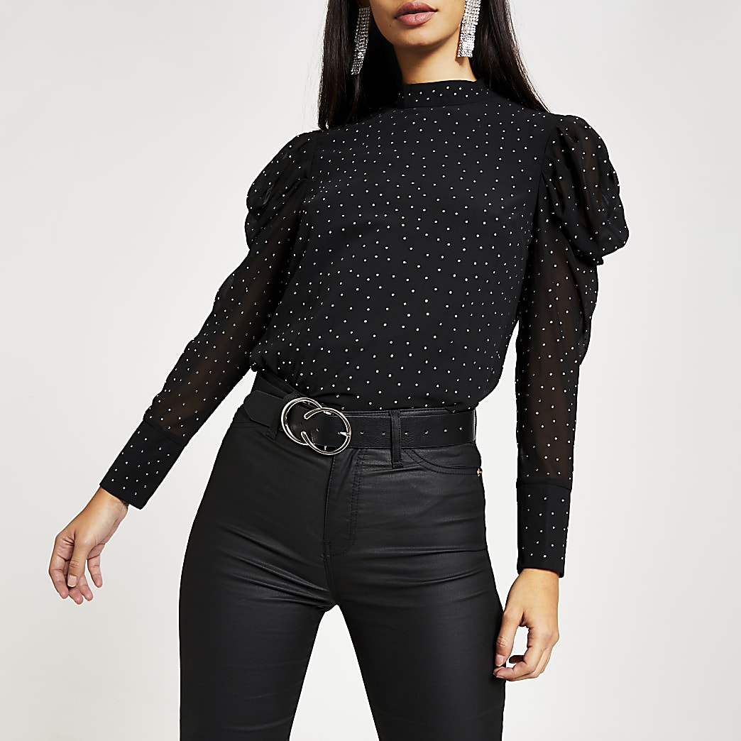 Black diamante long puff sleeve top