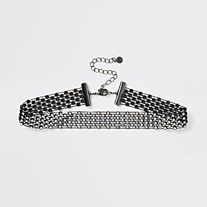 Black diamante mesh choker necklace