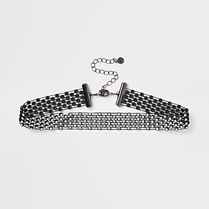 Black diamante mesh choker necklace
