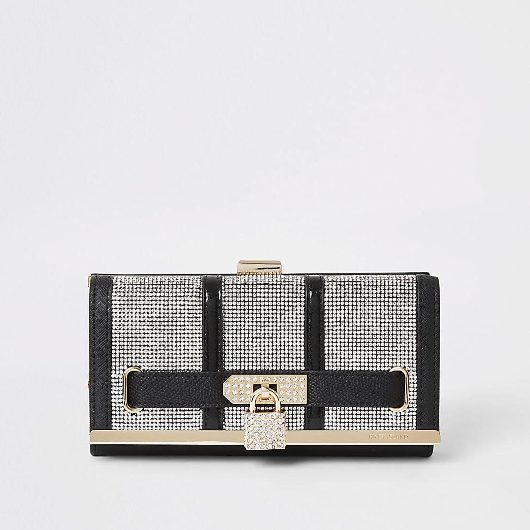 Black diamante padlock cliptop purse