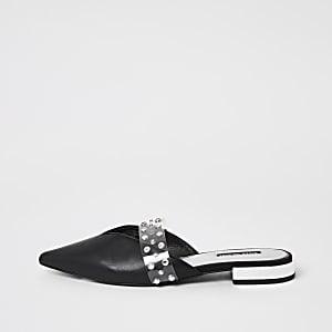 Chaussures pointues noires à strass