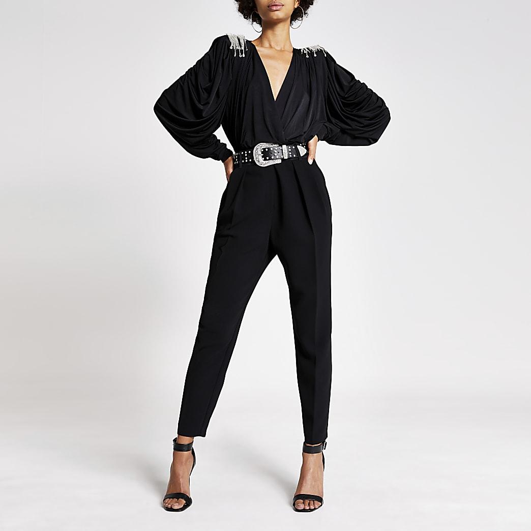 Black diamante shoulder wrap front bodysuit