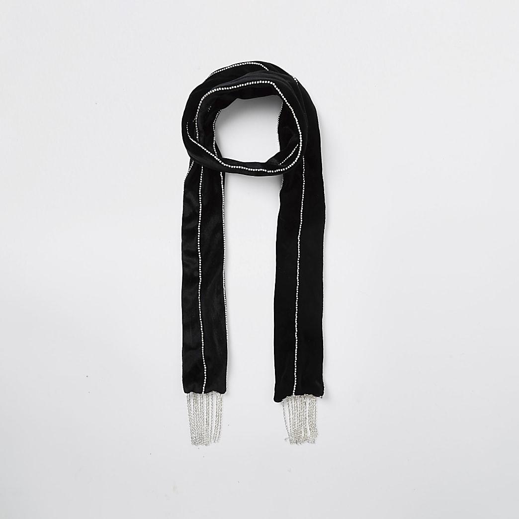 Black diamante skinny scarf