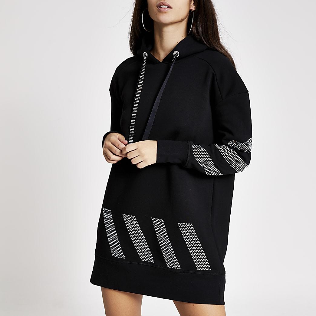 Sweatlong noir à capuche avec bandeà strass