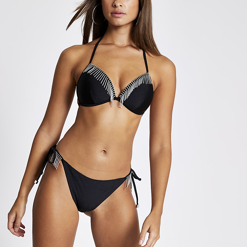 Black diamante tassel tie side bikini bottoms