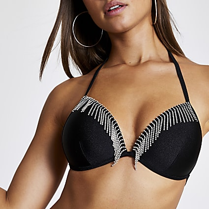 Black diamante tassel triangle bikini top