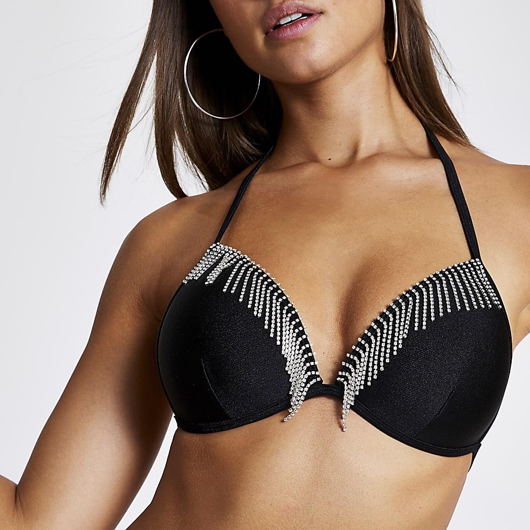 Schwarzes Triangel-Bikinioberteil mit Strassfransen