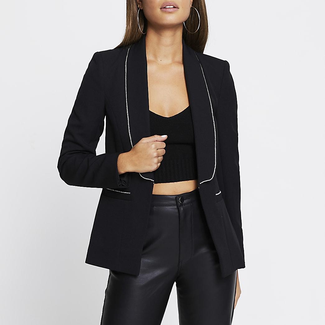 Black diamante trim long sleeve blazer