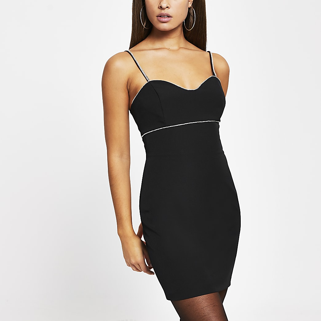 Black diamante trim mini cami dress